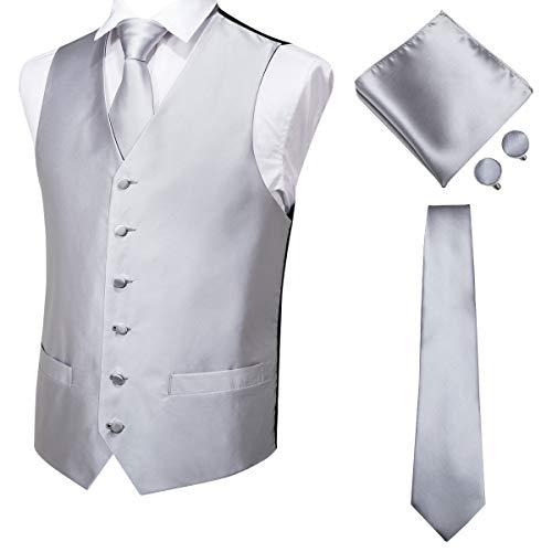 (Hi-Tie Men's 4pc Vest Necktie Pocket Square Cufflinks Set for Suit or Tuxedo More Color for Choose (Silver Grey, XXL) )