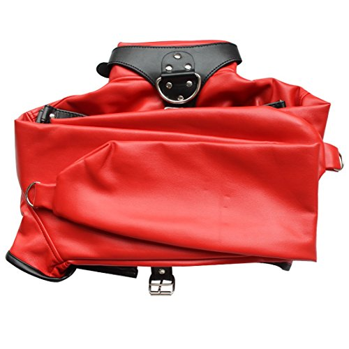 ACSUSS Women Faux Leather Body Restraint Harness Cupless Straight Jacket Costume Red One Size by ACSUSS