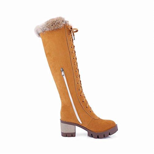 Mee Shoes Damen chunky heels Reißverschluss Langschaft Stiefel Gelb