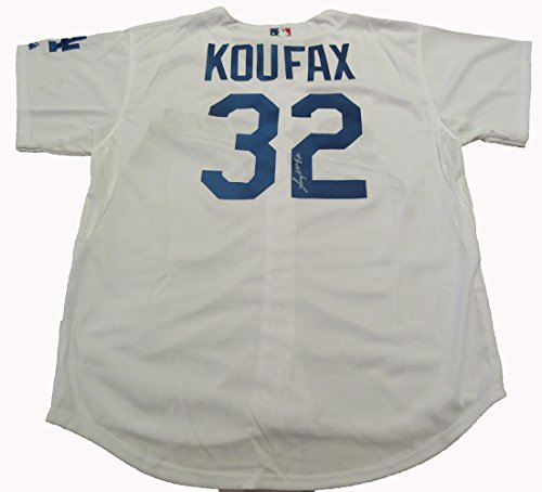Sandy Koufax Autographed Los Angeles Dodgers Jersey W/PROOF, Picture of Sandy Signing For Us, Los Angeles Dodgers, Brooklyn Dodgers, 4x World Series Champion, 3x Cy Young Award, 2x World Series - Young Award Cy