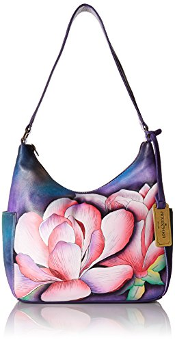 Anuschka Hand Painted Leather Women'S Classic Hobo with Side Pockets, Magnolia Melody by Anna by Anuschka