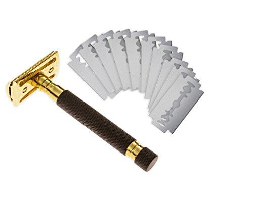 Double Edge Gold Black Brass Safety Razor Kit - Set of 5 Blades for Best Clean - 5 Blades Eshave