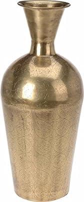 Large Gold Vase Metal Vase Urn Style Vase 54cm Tall Floor Standing Decorative Flower Vase Amazon Co Uk Kitchen Home