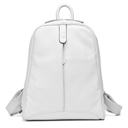 Girl's Style Women White Knapsack Leather Yellow Casual Notebook Pure Genuine Backpack 100 Preppy Travel Laptop Schoolbag Fashion Bag zv4qztxw
