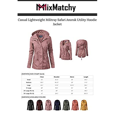 MixMatchy Women's Lightweight Front Zipper Solid Utility Anorak Hoodie Vest/Jacket: Clothing