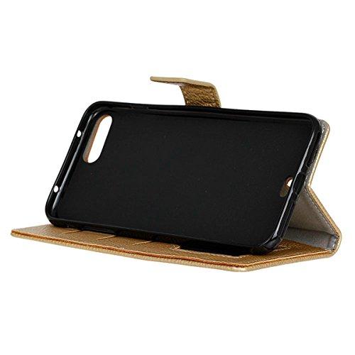 Coque iPhone 7 Plus Moonmini® Flip Folio Portefeuille Carte Slot PU Cuir Etui en cuir de protection avec Fermeture Magnétique pour iPhone 7 Plus d'or
