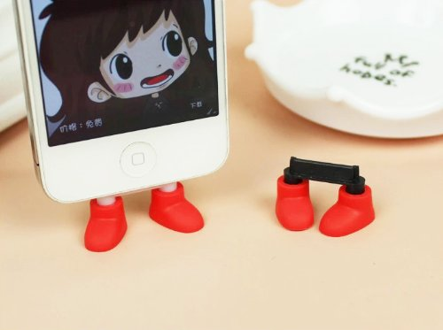ZOEAST Creative 2 in 1 Cute 8 Colors Shoes Donald Duck Stitch Feet iPhone Stand Data Port Dust Plug Phone Shoes Dustproof Charm iPhone 5S 6 6S SE 7 Plus Phone Stand (iPhone SE/6S/7 Plug, Red)