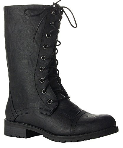 Women Zipper Closure - ROF Vegan Leather Lug Heel Ankle to Mid Calf Lace Up Zipper Closure Combat Military Motorcycle Boots BLACK PU BLACK (10)