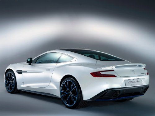 Aston Martin Vanquish Q (2013) Car Art Poster Print on 10 mil Archival Satin Paper White Rear Side View 20