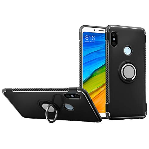 Xiaomi Redmi Note 6 Pro Case DWaybox Hybrid Back Case with 360 Degree Rotation Ring Holder for Xiaomi Redmi Note 6/Redmi Note 6 Pro 6.26 Inch Compatible with Magnetic Car Mount Holder (Black)