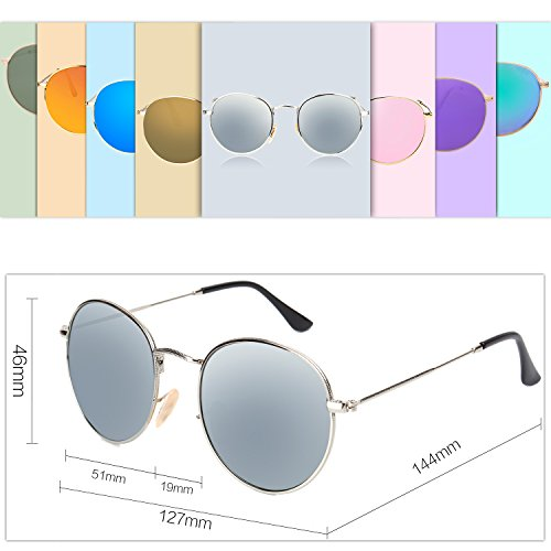 a06ba7e49b SojoS Small Round Polarized Sunglasses Mirrored Lens Unisex Glasses SJ1014  3447 With Silver Frame Silver