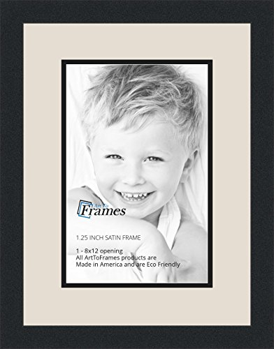 ArtToFrames Collage Photo Frame Double Mat with 1-8x12 Openings with Satin Black Frame and Porcelain mat.