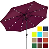 Best Choice Products 10ft Deluxe Solar LED Lighted Patio Umbrella w/ Tilt Adjustment (Burgundy)