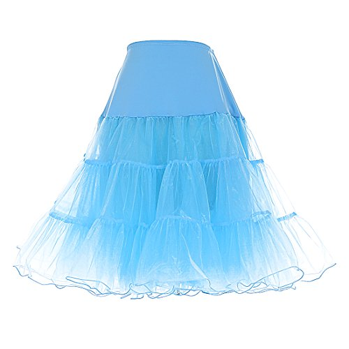 Petticoat vintage mini retro puffy 50s Dresstells Sottogonna gonne organza Azzurro Rockabilly wXqRATZE