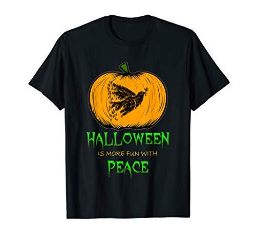 Dove of Peace Pumpkin Carving Halloween Clip Art Silhouette  T-Shirt -