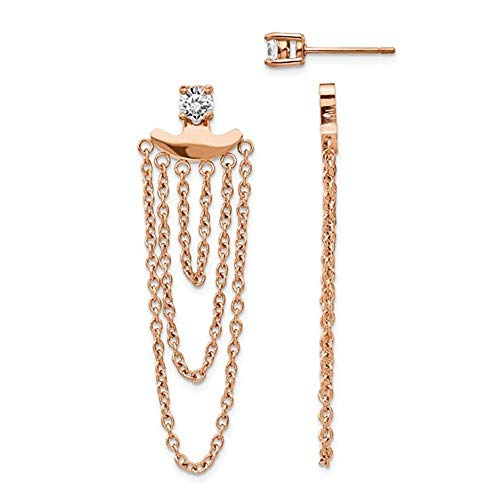 Stainless Steel Polished Rose IP-Plated CZ Post With Jacket Earrings