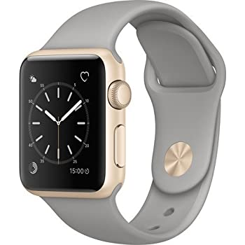 Apple Watch Series 1 Smartwatch 38mm Gold Aluminum Case, Concrete Sport Band (Renewed)