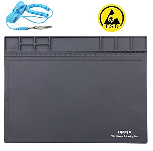 """Anti-Static Mat ESD Safe for Electronic, HPFIX Silicone Soldering Repair Mat 932°F Heat Resistant for iPhone iPad iMac, Laptop, Computer, 15.9"""" x 12""""Grey (Contain ESD Wristband and Grounding Wire)"""
