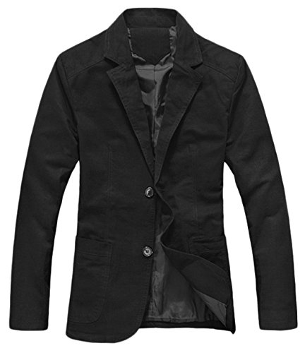 chouyatou Men's Cotton Big and Tall Casual Slim Fit Suit Jacket (Medium, Black) ()