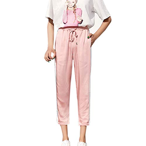 Forthery Women High Waist Pants Casual Loose Striped Summer Thin Cropped Harem Pants Pink