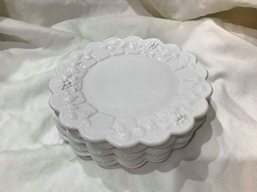 Set of Six Vintage Westmoreland Milk Glass Grape Pattern 6