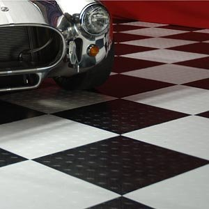 MotoFloor Modular Garage Floor Tile Checker Pattern 42 sq ft Complete Kit