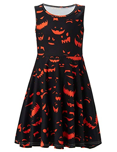 (ALOOCA Girls Halloween Party Bat Printed Dress Casual Flared Midi)