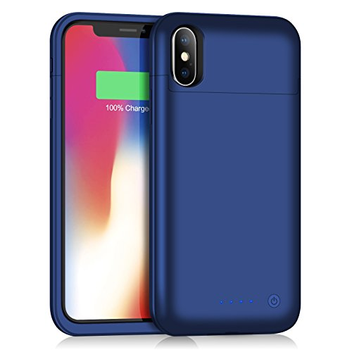 Battery Case for iPhone Xs Max, 6200mAh Slim Portable Charger Case Rechargeable Extended Battery Pack for Apple iPhone Xs Max (6.5 Inch) Protective Charging Case Backup Cover Power Bank - Blue