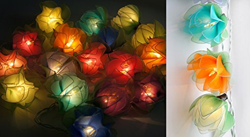 Exotic Elegance Colorful Handmade Blooming Lotus Stocking Net Flower UL String Lights for Home Decor/ Night Light Party (20 Light Bulbs). ()