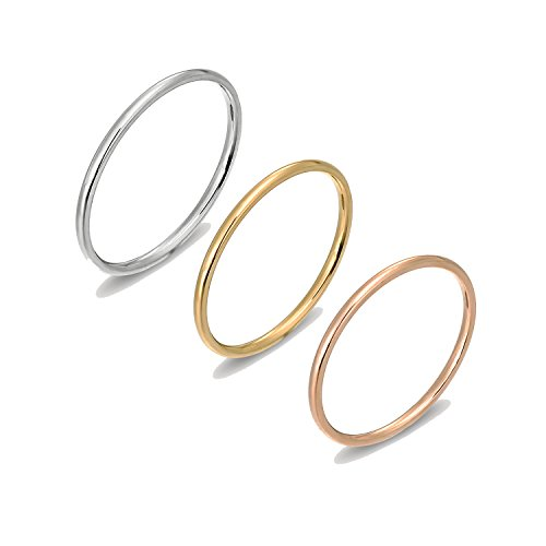 [LOYALLOOK 1mm Stainless Steel Women's Plain Band Stacking Midi Rings Comfort Fit Wedding Band Ring Size 6] (Simple Stack)