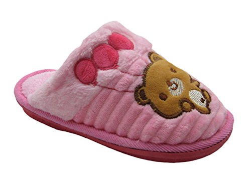 - Fashion Blue Cute Happy Bear Kid's House Slippers w/Happy Stitch (10-11, Pink)