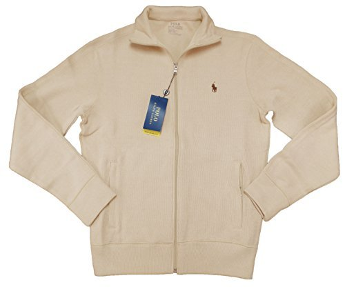 Heavy Track Jacket - Polo Ralph Lauren Men's Performance Full Zip Ribbed Knit Sweater (XL, Cream)