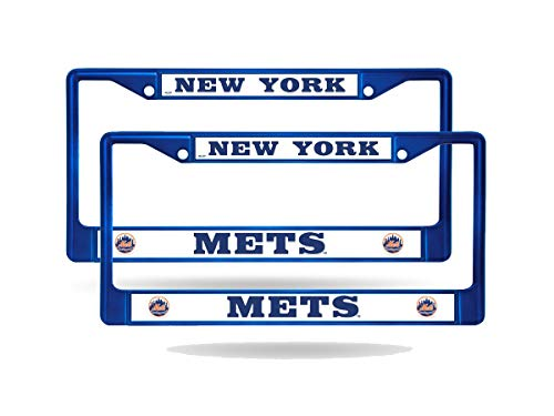 (Rico New York Mets MLB Blue (Set of 2) Painted Chrome Metal License Plate Frames)