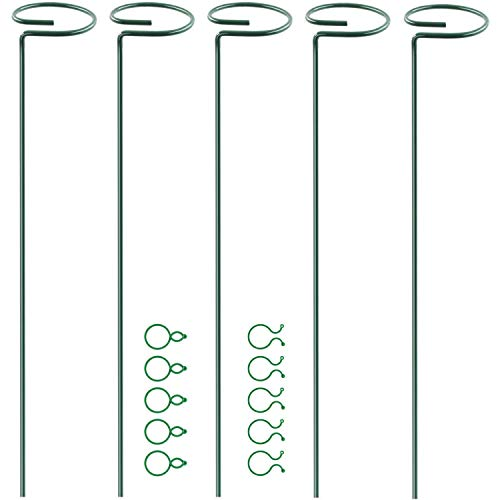 HiGift 5 Pack Garden Plant Support Stakes, Single Stem Support Stake Plant Cage Support Rings, with 10 pcs Plant Clips Locks for Tomatoes, Flowers Stem, Upright Plant Growing, (45 cm/ 18 inch Long)