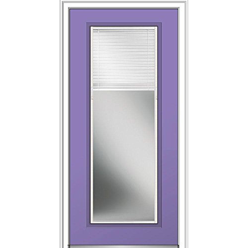 MMI Door 36 in. x 80 in. Internal Blinds Clear Glass Full Lite Right-Hand Classic Painted Steel Prehung Front (Steel Full Lite Glass)