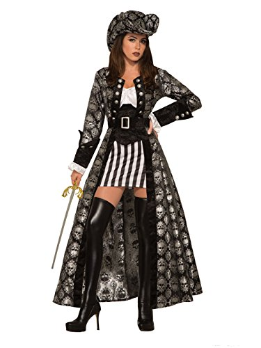 (Forum 80355_M/L-As-M/L Women's Captain Silva Black Skull Adult Costume, Medium/Large, Multicolor, Pack of)
