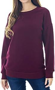 Smallshow Fleece Maternity Nursing Sweatshirt Long Sleeve Breastfeeding Tops