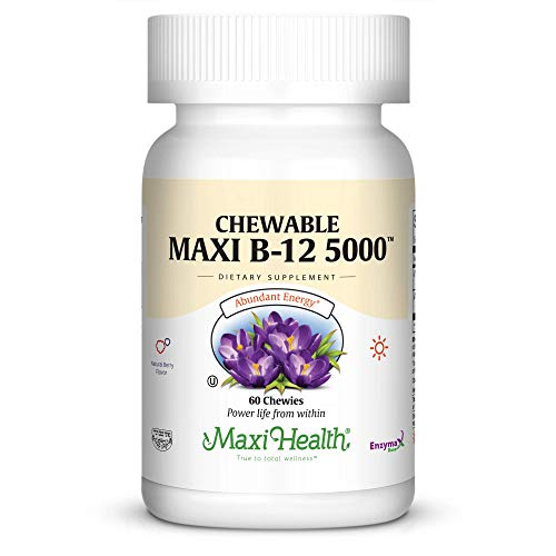 Maxi Health Chewable Vitamin B-12 - 5000 mcg - Energy Booster - Berry Flavor - 60 Chewies - ()