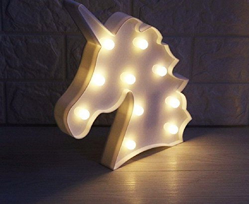 Lucktao 12inch LED Plastic Unicorn Shape Marquee Sign Indoor Room Deration Night Light Luminarias Led Abajur Wireless Wall Lamp For Gift (white)
