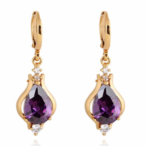 YAZILIND Elegant Unique Design 18k Gold Filled Inlay Teardrop Purple Cubic Zirconia Dangle Drop (Purple Teardrop Ring)