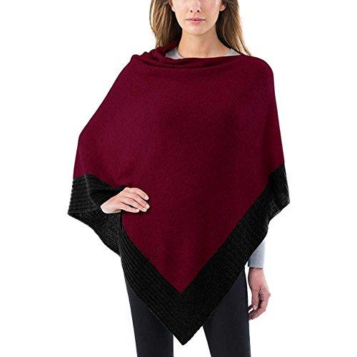 Womens Celeste Natural (Celeste Ladies Colorblock Cashmere Blend Travel Wrap Poncho, Sequoia/Black, One Size)