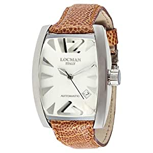 Locman Men's White Dial Leather Band Watch - 241853
