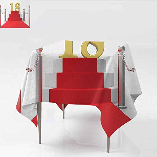 DILITECK Washable Table Cloth 18th Birthday Hollywood Greeting for a 18 Year Old Star Party Red Carpet Image for Kitchen Dinning Tabletop Decoration W63 xL63 Red Silver and White -
