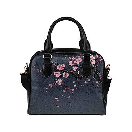 InterestPrint PU Leather Lady Purses and Handbags Japanese Cherry Sakura Blossom Tree