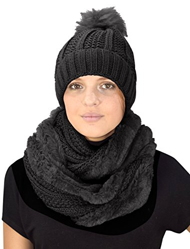 Peach Couture Thick Cable Knit Faux Fur Plush Double Layer Hat Infinity Scarf Set (Black 98)