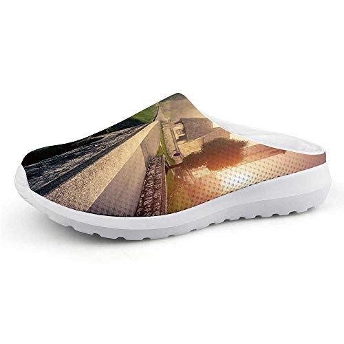 (Landscape Beautiful Summer Mesh Sandals,Majestic Foggy Morning Scene Triglav National Park Mountain Valley Dramatic View Decorative for Walking,US Size 12)