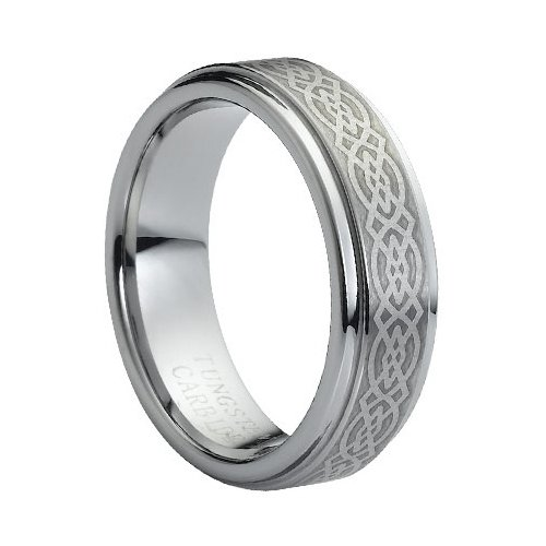 12.5 Size Tungsten Carbide Laser Engraved Celtic Knot Pattern 7mm Wedding Band Ring