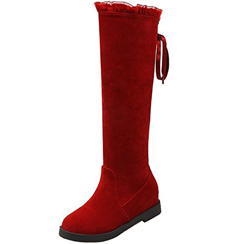 COOLCEPT Women Fashion Lace up Mid Heel Sweet Lace Knee High Winter Boots Shoes Red ah3Qzt9FrX