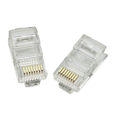 RJ45 Connectors,50 Pack UTP Network Plug for CAT5E CAT6 Ethernet Cable Crimp Solid Wire and Standard Cable,Transparent