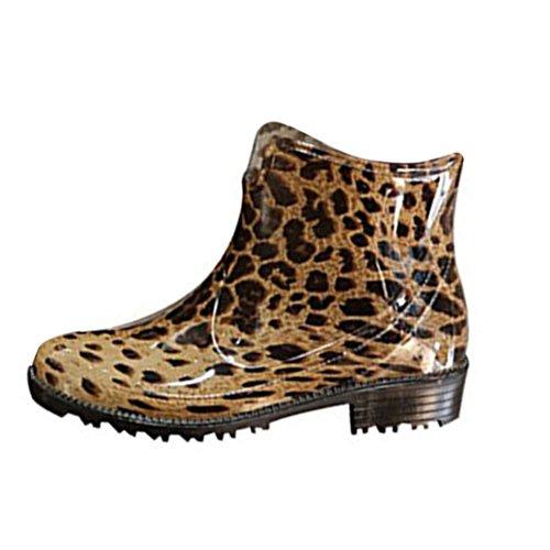 Sgoodshoes Damen Chelsea Boots Kurzstiefel Regenstiefel Gummistiefeletten Arbeitsstiefel Wasserdicht Leopard